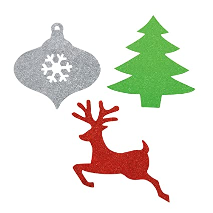 mini glitter paper cutout christmas decorations assorted 6ct - Cut Out Christmas Decorations