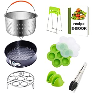 8-Piece Instant Pot Accessories Sets Fits 5,6,8 Qt-Large Stainless Steel Steamer Basket,Egg Rack,Non-stick Springform Pan,Egg Bites Mold,2 Oven Mitts,Bowl Clip,Kitchen Tong and More+Recipes eBook