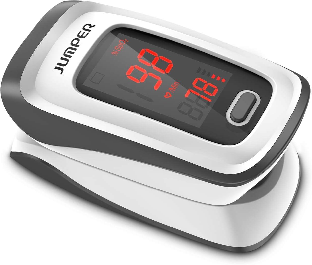 JUMPER Oxímetro de Pulso con Pantalla Grande Para Medir SpO2, índice de Perfusión y Frecuencia de Pulso en el Dedo, con Estuche, Baterías y Cordón (Gris)