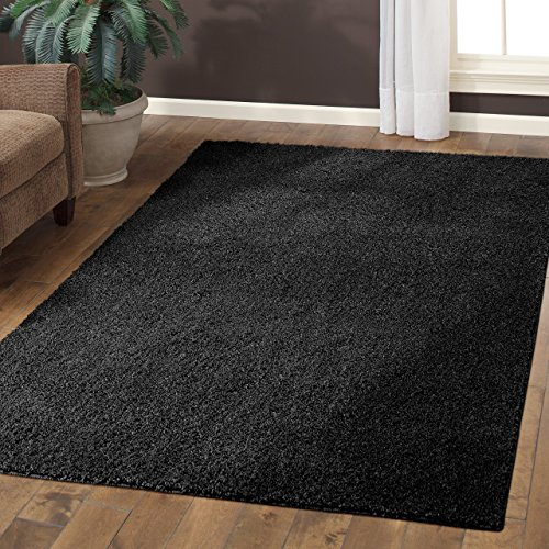 Area Rugs, Maples Rugs [Made in USA][Catriona] 7' x 10' Non Slip Padded Large Rug for Living Room, Bedroom, and Dining Room - Rich Black