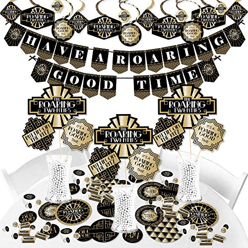 Big Dot of Happiness Roaring 20's - 1920s Art Deco Jazz Party Supplies - Banner Decoration Kit - Fundle Bundle -