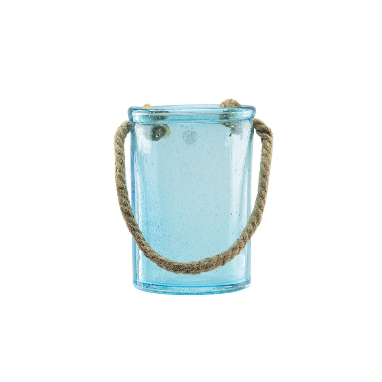 Northlight 8'' Transparent Blue Hand Blown Bubble Glass with Jute Handle