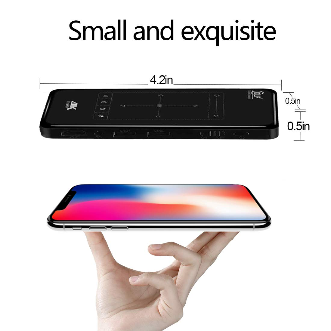 Therm 4K Mini Projector Android OS Smart Portable Wi-Fi Bluetooth Touch Pad Video Projector HDMI USB TF Card Home Office Cinema Laptop iPhone 4000mAh EU Socket