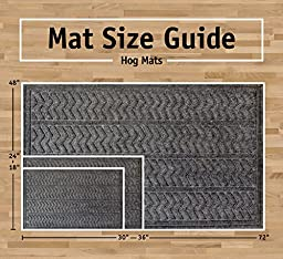 DII Industrial, Durable Non-Slip Polypropylene Fiber, Hog Mat for Indoor/Outdoor Use, 100% Rubber Backing & Skid Resistant For High Traffic Areas, 2 x 3\', Chevron/Dark Gray