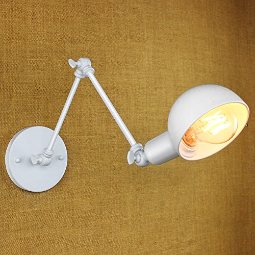 White Swing Arm Wall Lamp - 8