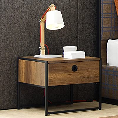 Adam and Illy VIR1856 Virtus Night Stand, Baroque/Black - VIRTUS Night Stand's industrial looking black steel frame paired with baroque oak wood colors is transitioning from retro modern to a rustic luxury. Made in Europe Includes a drawer to store your stuff right beside your bed. - bedroom-furniture, nightstands, bedroom - 61SQoJA1N5L. SS400  -