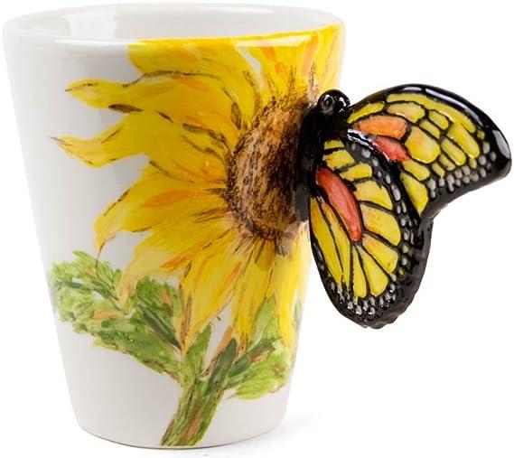 Mariposa Taza de Café Hecho a Mano 8oz Flor amarilla (10cm x