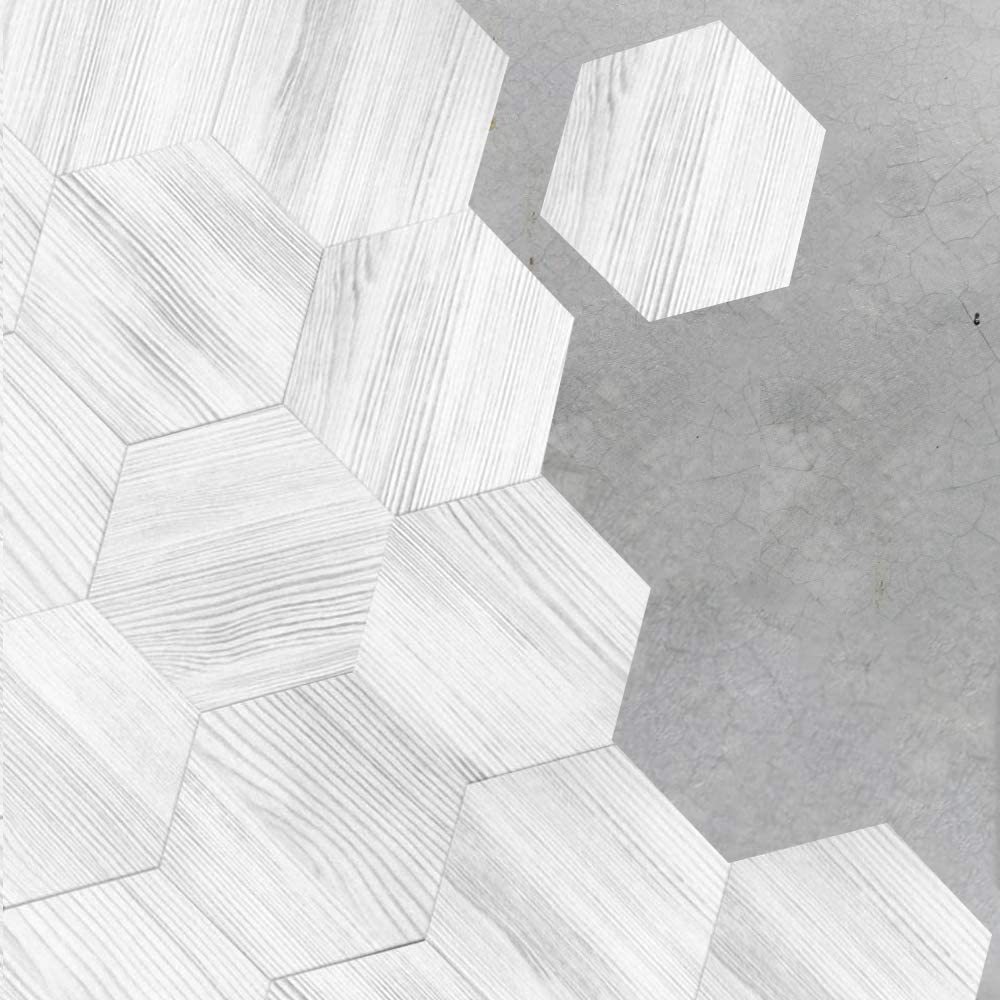 Hexagon Floor Tile Stickers Peel and Stick Wood Texture Tile Decal