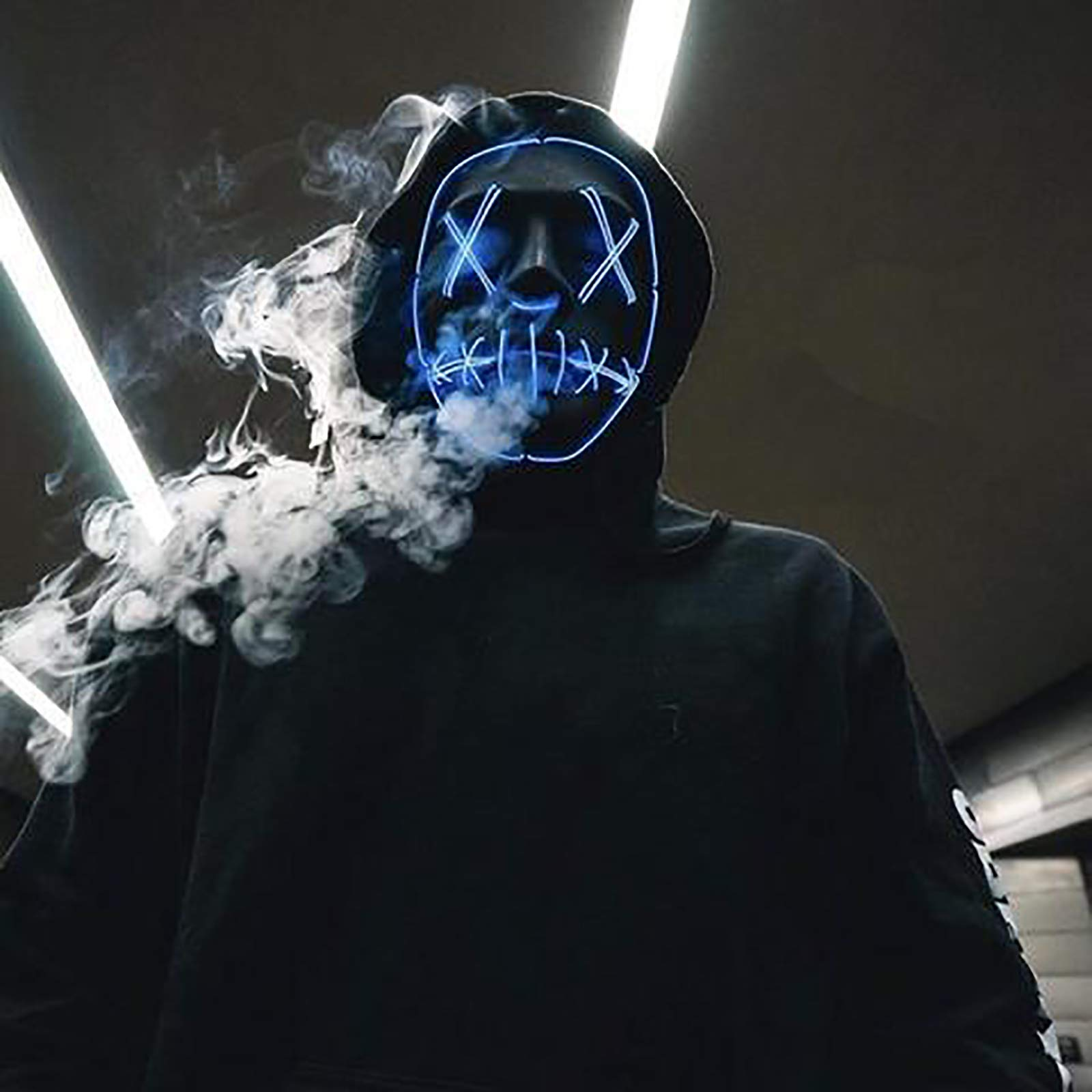 Voilamart LED Halloween Mask Halloween Scary Light up Mask EL Wire Mask Led Purge Mask for Halloween Cosplay Festival Party (Blue)