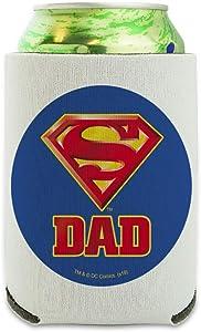 Superman Super Dad Shield Logo Can Cooler - Drink Sleeve Hugger Collapsible Insulator - Beverage Insulated Holder