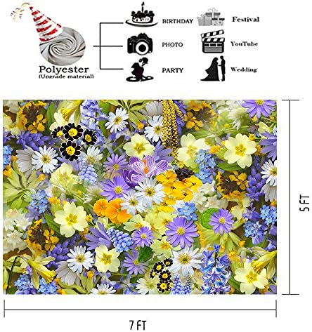 7x10 FT Vinyl Photography Backdrop,Spring Themed Vivid Colored Seasonal Elements Blooming Flowers Ladybugs Bees Birds Background for Child Baby Shower Photo Studio Prop Photobooth Photoshoot