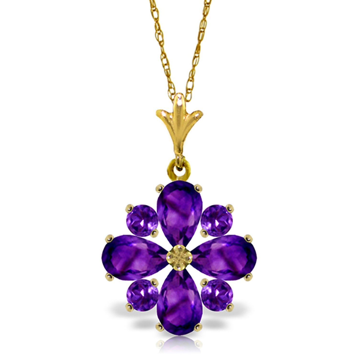 ALARRI 2.43 Carat 14K Solid Gold Testimony Of Love Amethyst Necklace with 18 Inch Chain Length