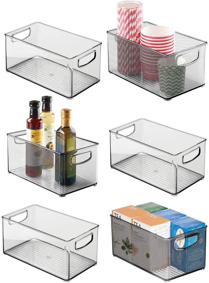 "mDesign Plastic Stackable Kitchen Pantry Cabinet, Refrigerator or Freezer Food Storage Bin Container with Handles - Organizer for Fruit, Yogurt, Snacks, Pasta - BPA Free, 10"" Long, 6 Pack - Smoke Gray"