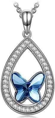 Collier glamour ras de cou noir pendentif larme cristal Swarovski sylver night