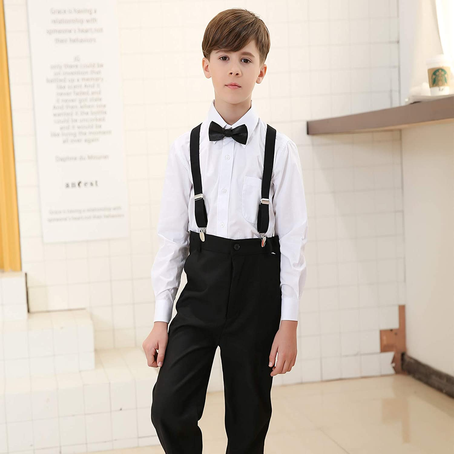 23.6 Inch Adjustable Classic Accessory Set for Boys Girls Kids Suspender Bow Tie Set 7 Months - 3 Years Wine red,