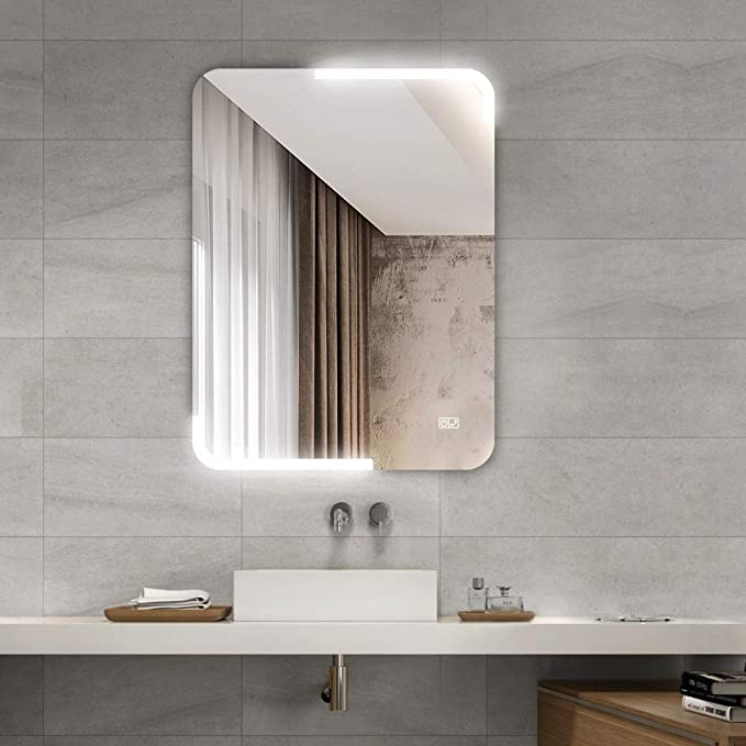 Demister pad and Touch Sensor Switch Sbagno 600 x 800 mm Illuminated LED Bathroom Mirror with Built-in Bluetooth Speaker Dimming Function