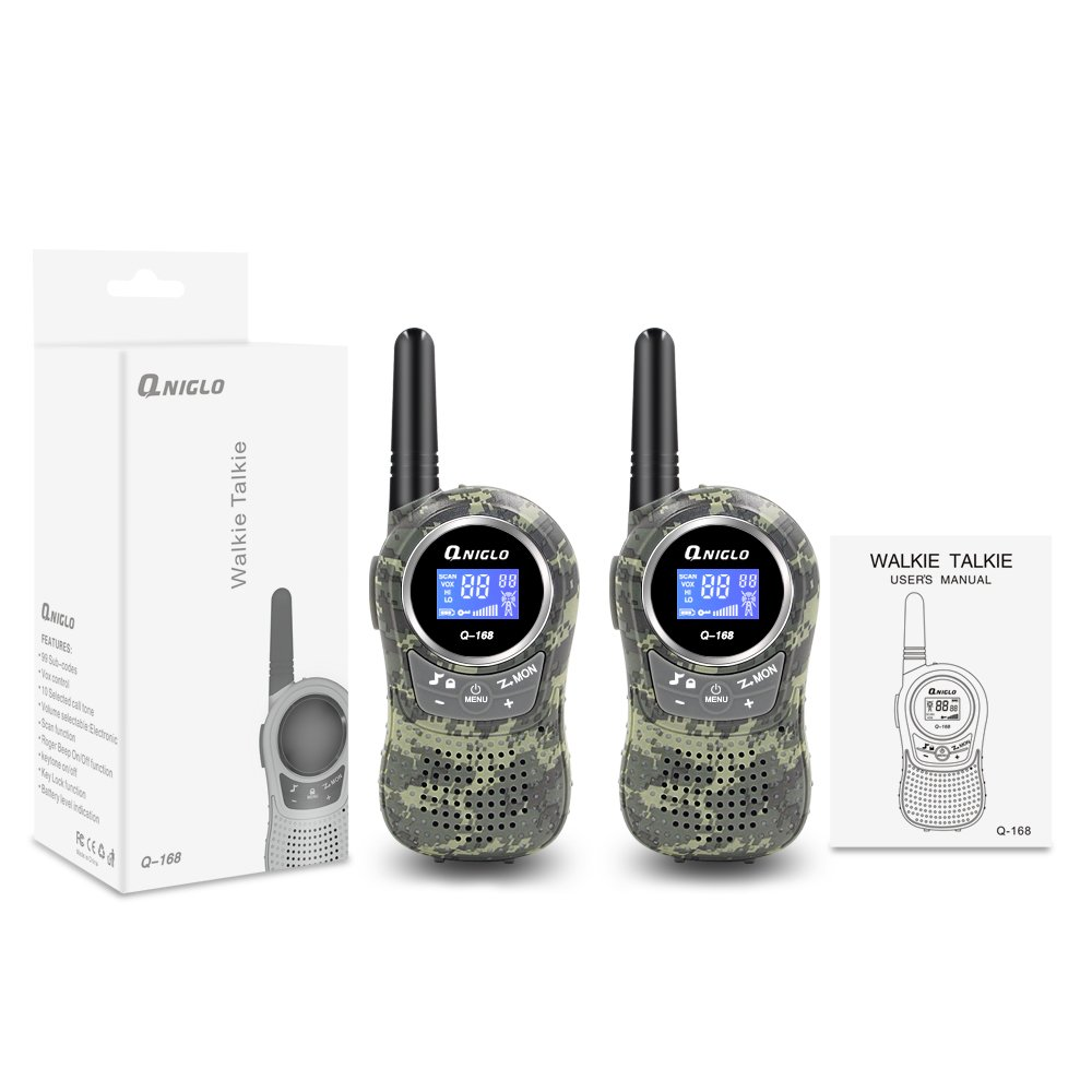 Qniglo Kids Walkie Talkies 2 Way Radio 3 Miles Long Range 22 Channels Walkie Talkies Kids Outdoor Camping Toys Gifts Boys Girls (Camouflage Green) by Qniglo (Image #4)