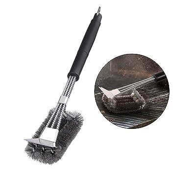 Cepillo de Parrilla Cepillo para Barbacoa 3 En 1, Cepillos de Cerdas de Acero Inoxidable con 360°de Limpieza Total, Elimina Enérgicamente Las Manchas ...