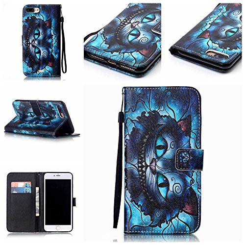 iPhone 7 Plus Case, Jenny Shop Stand Feature Premium Pu Leather Flip Folio Wallet Case with Wrist Strap ID & Credit Card Slot Magnetic Closure for iPhone 7 Plus - Cheshire Cat -