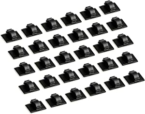Usee Cable Clips 30Pcs Adhesive Wire Cord Clip Holder Cable Management Organizer for Car Office Desk Desktop Home(Black)