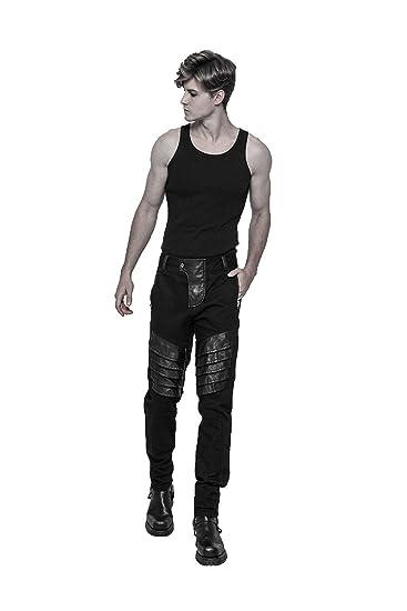 Punk Männer Rock lange Hosen mit Taschen Slim Fit Jeans Hosen Punk Jeans  Black 2XL 8a02ed1ba8