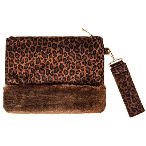 ee84560691 by you Women Faux Fur Leopard Print Fashion Side Hand Strap Clutch Pouch  Bag Faux Leather
