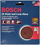 Bosch SR6R322 25-Piece 320 Grit 6 In. 6 Hole Hook-And-Loop Sanding Discs