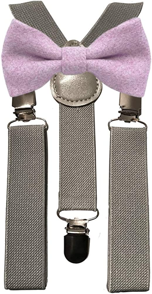 DB Dickie Bow Juego de tirantes grises y pajarita de lana púrpura ...