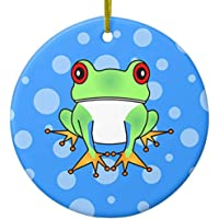 Cute Tree Frog Cartoon Ceramic Ornament Circle
