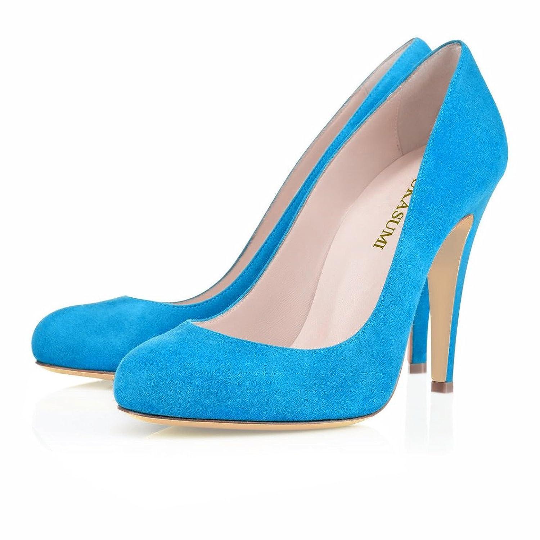 9f9c69aa02b4c EDEFS Femmes Artisan Fashion Escarpins Bout Ronds en Suède Couleurs Vives  Chaussures à talon de 100mm