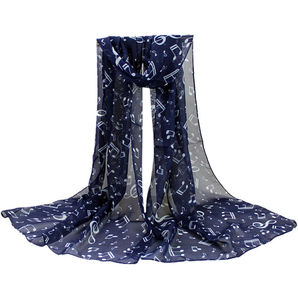 Promisen Women Musical Pattern Note Chiffon Scarf,Soft Shawl Muffler Scarves (Navy)