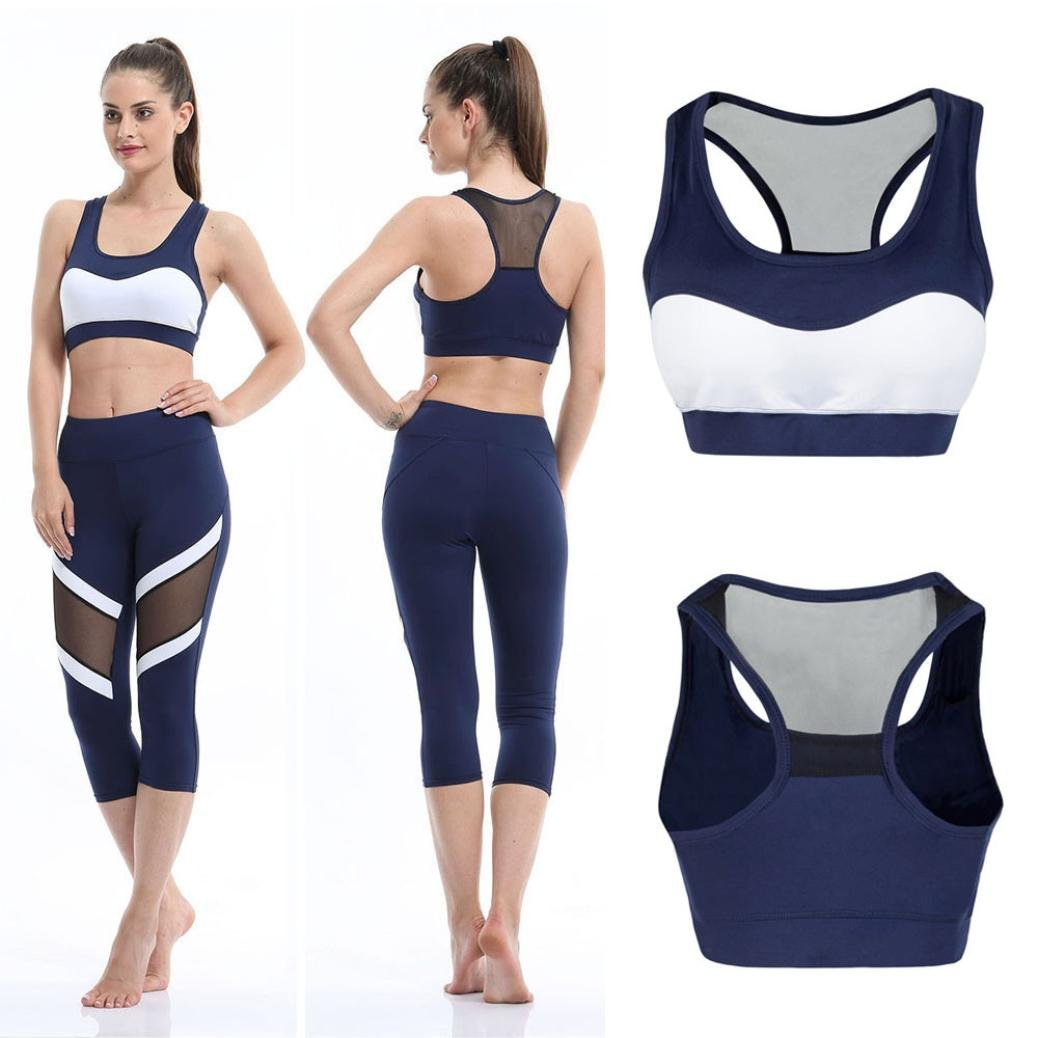 Bluester Women Sport Gym Yoga Workout Bra, Running Padded Fitness Tops Vest