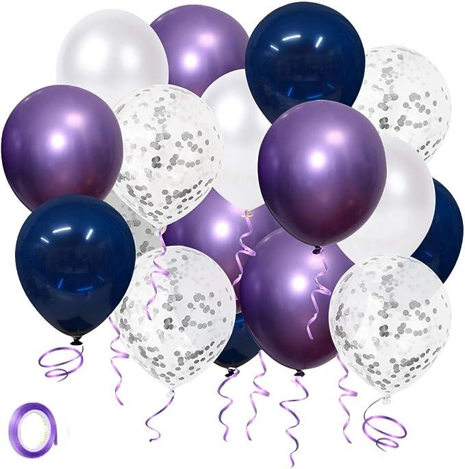 Helium Luftballons Blau Lila Weiß Silber Skyiol Konfetti Metallic Latex Ballons Mit 10m Band Als Kinder Geburtstag Hochzeit Baby Party Abschluss Jubiläum Party Deko 50 Stück 30cm Spielzeug