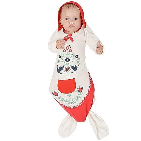 Saco de dormir Bebé Swaddle Sacos Sirena Recién Nacido Bolsa de dormir (Capucha Roja,