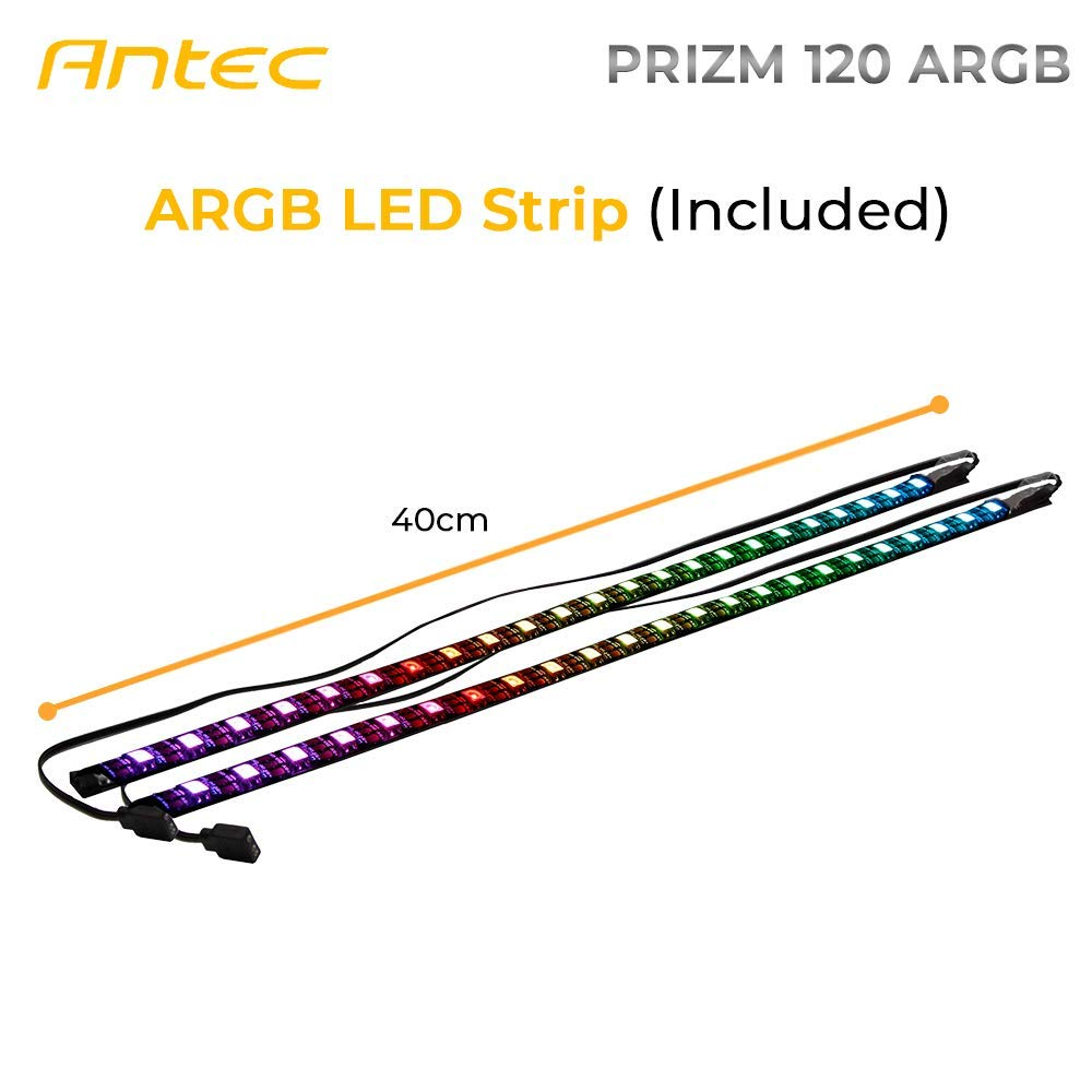 Antec Prizm 120mm Addressable RGB Case Fan Radiator - 3 Pack and 2 RGB Strips by Antec