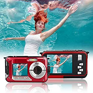 Waterproof Point and Shoot Digital Cameras,24MP 1080P Dual Screen Underwater Video Recorder Digital Camera-Red