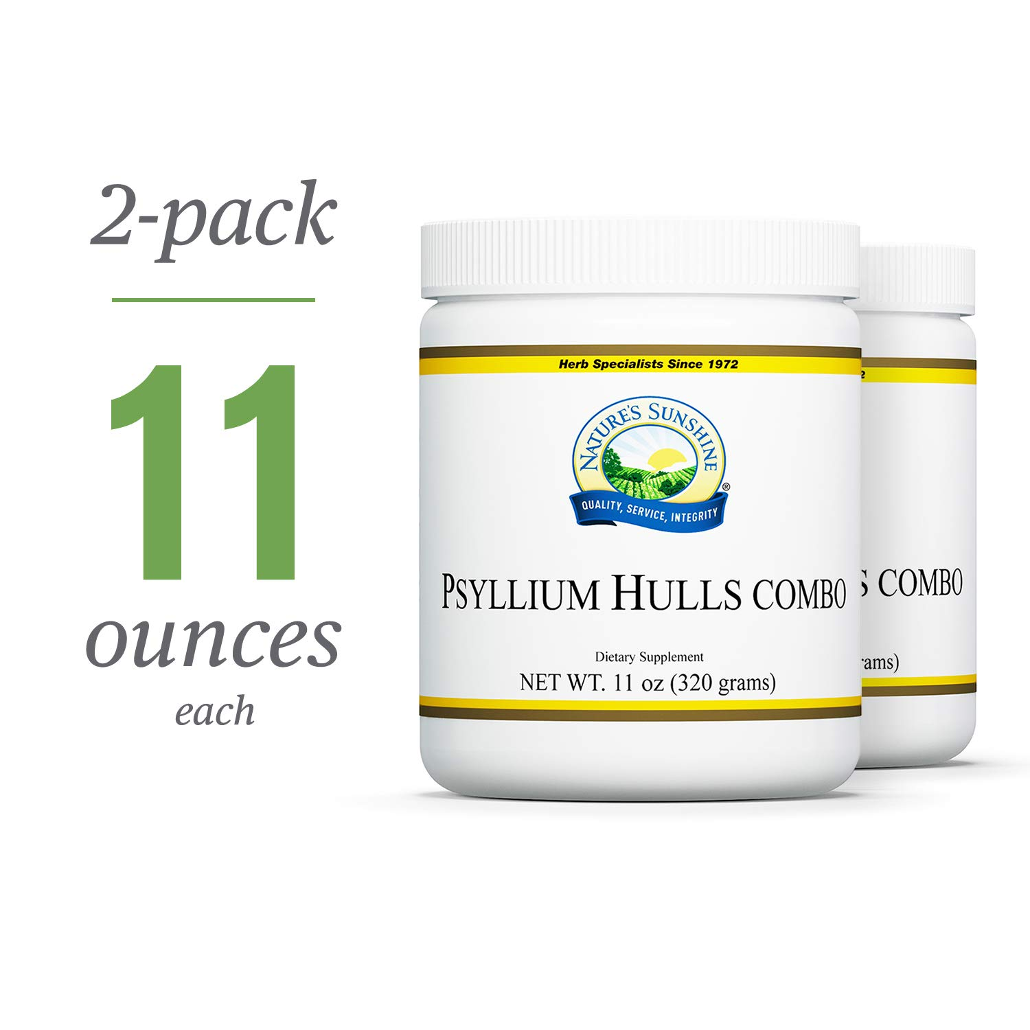Nature's Sunshine Psyllium Hulls Combination, 11 oz. | 2 Pack | Organic Intestinal System Support is High in Soluble Fiber Which Facilitates The Process of Waste Elimination by Nature's Sunshine