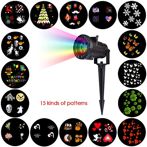 Gentman Halloween Christmas LED Projector Light Remote Control with 15 Pattern Replaceable Slides Lawn Garden Landscape Lamp for Indoor Outdoor Party Wedding