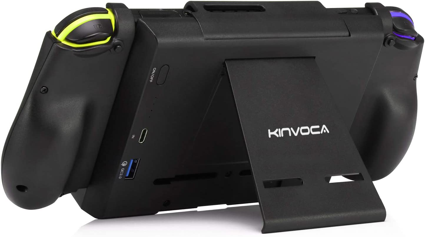 KINVOCA Battery Pack for Nintendo Switch, 10000mAh Switch Portable Charger with 18W Quick Charge, Charging and Battery Case with Detachable Joycon Grip, Kick Stand and Game Cartridges Storage