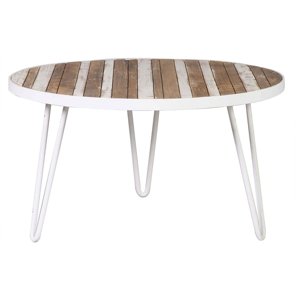 Miliboo Table Round Wood And Metal White 80 X 45 Rochelle
