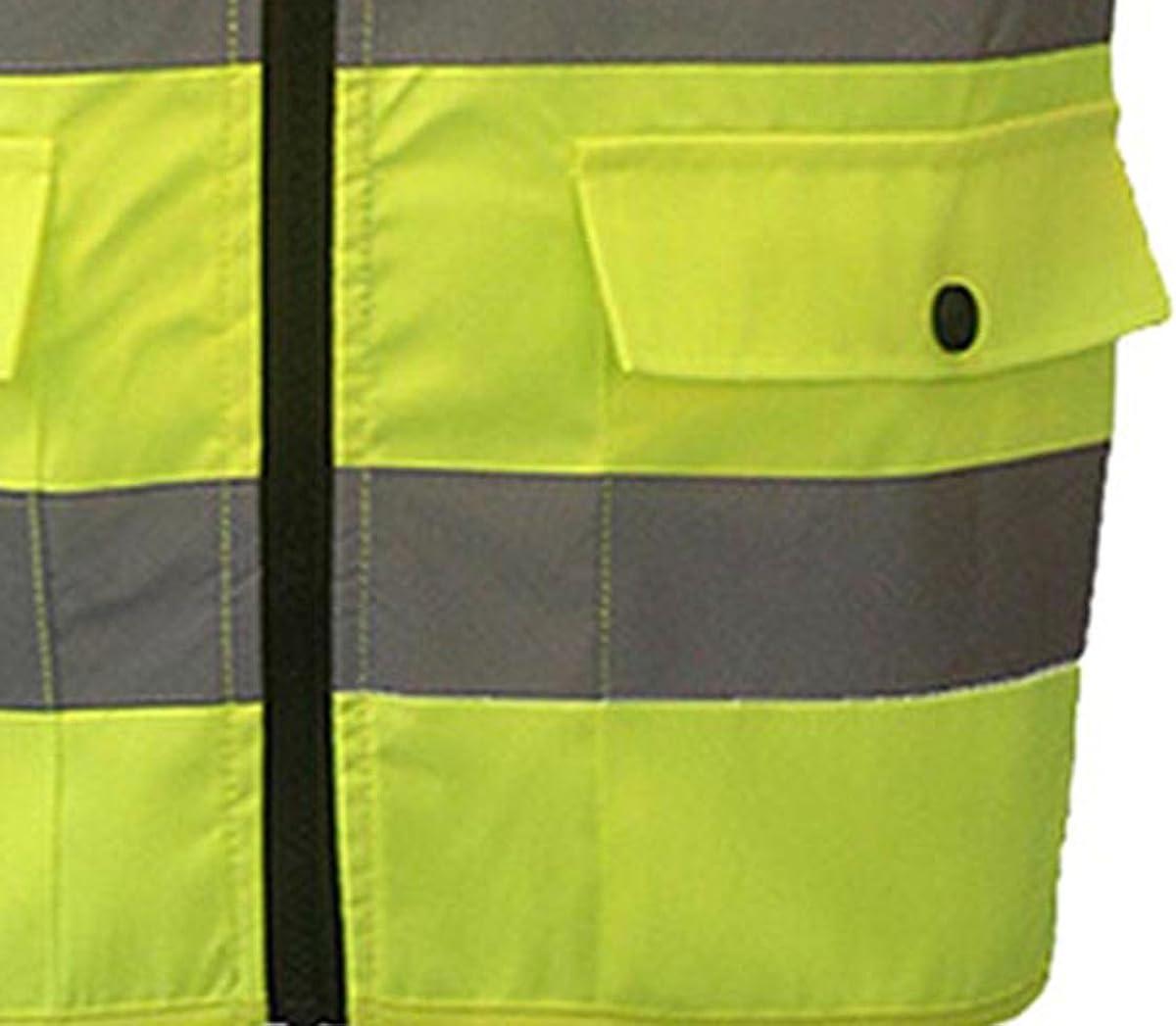 SFVest Warnweste Atmungsaktiv Stehkragen Sicherheitsweste Reflektierende Weste mit 4 Taschen