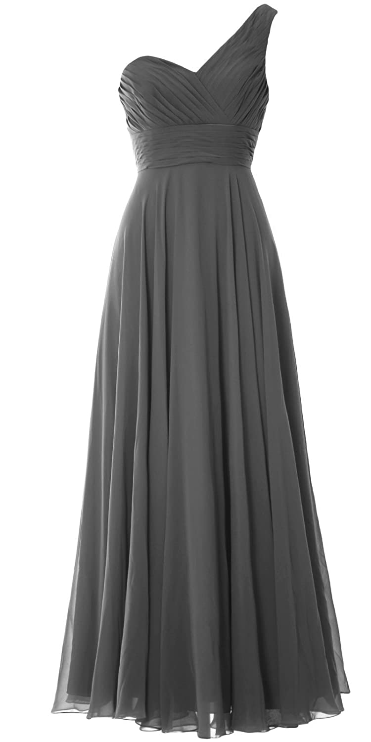 MACloth Women One Shoulder Long Bridesmaid Dress Wedding Party Evening Gown