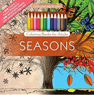 seasons adult coloring book set with 24 colored pencils and pencil sharpener included color your