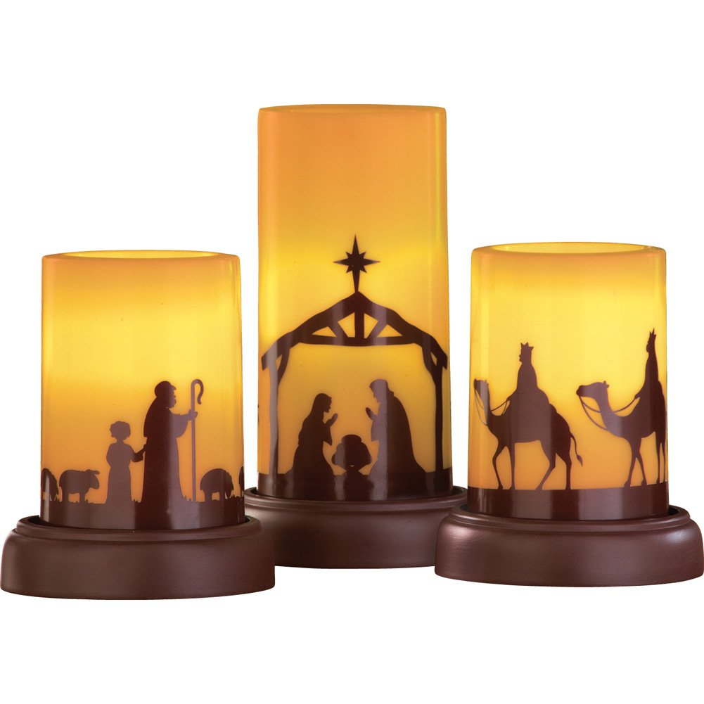 Collections Etc LED Flameless Nativity Candles - Set of 3