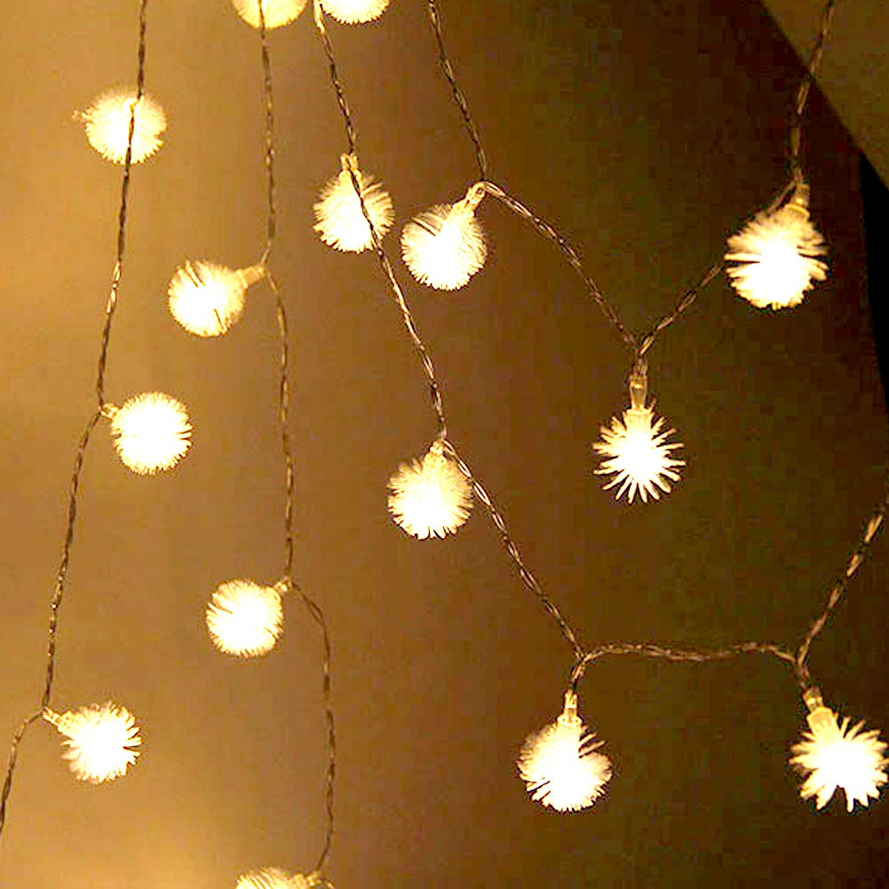 ZXYWW LED String Lights Warm White Battery PoweredDandelion Fur Ball String Lights Outdoor Indoor String Lights Fairy Decor for Bedroom Patio Party Christmas,2.5M