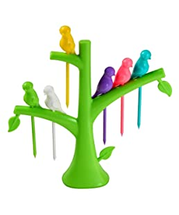 Leaf Bride Plastic Fruit Fork with Stand and 6 Fork Multicolour (Pack of 1 Stand & 6 Forks)