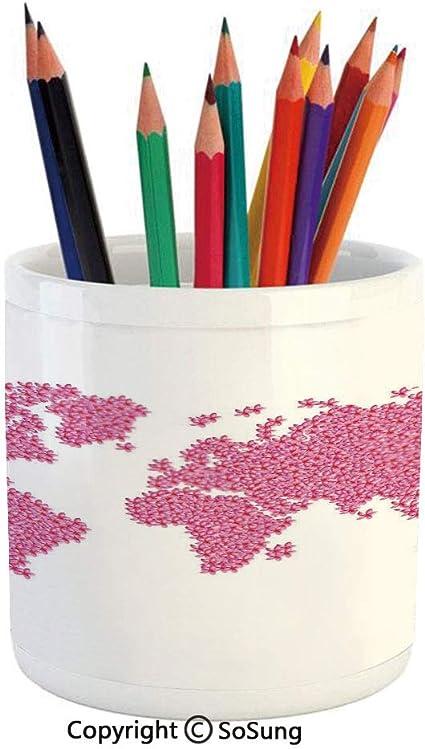Estuche de cerámica para lápices, diseño con texto en inglés