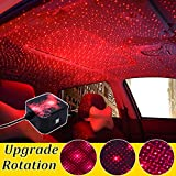 NEW OOPS USB 100mw Led Glow Car Roof Inside Night Lights - Atmosphere Meteor Ceiling Projector Light Decoration Interior Lamp - 1 Modes for car/Home/Party (OK5-Star Rotation-Red)