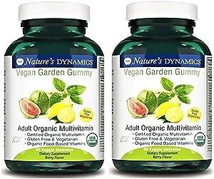 Natures Dynamics Vegan Garden Gummy Adult Organic Multivitamin, 60 Count (2 Pack)
