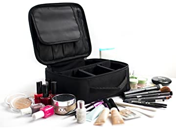 Amazon.com : Travel Makeup Train Case and Cosmetics Organizer ...
